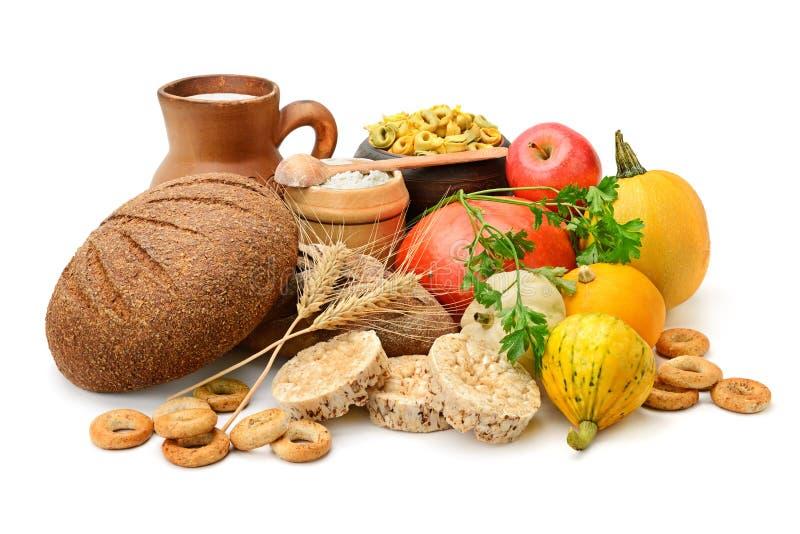 Skład chleb, mleko, warzywa obraz stock