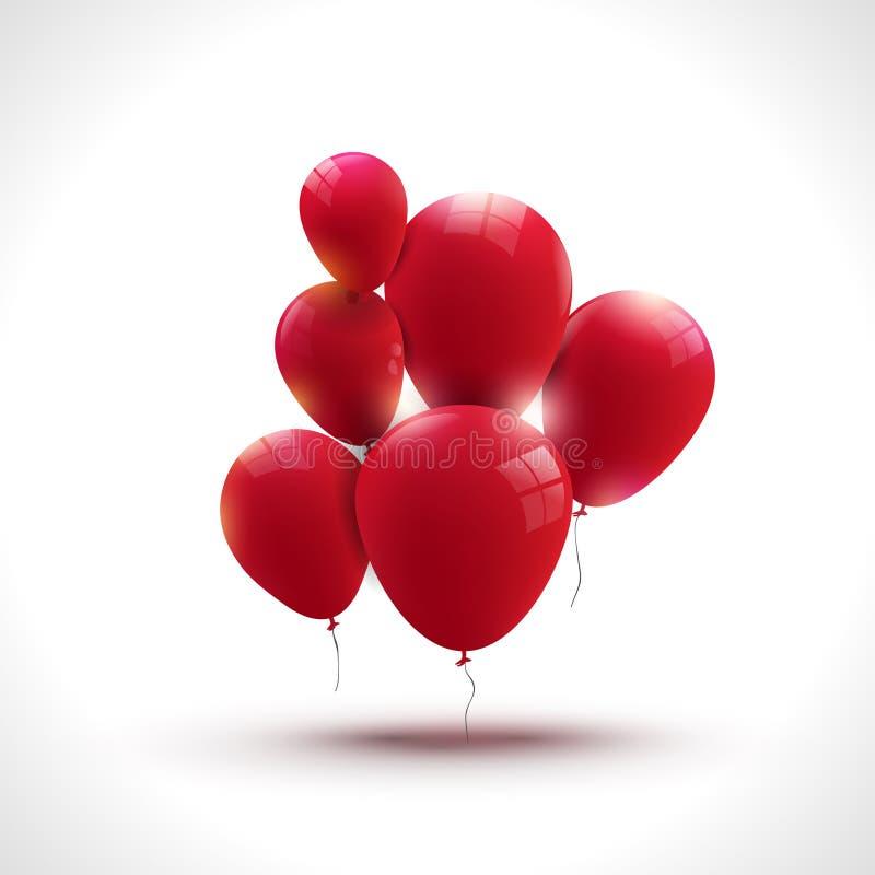 Skład czerwony ballons, powitania i wakacje pojęcie, royalty ilustracja
