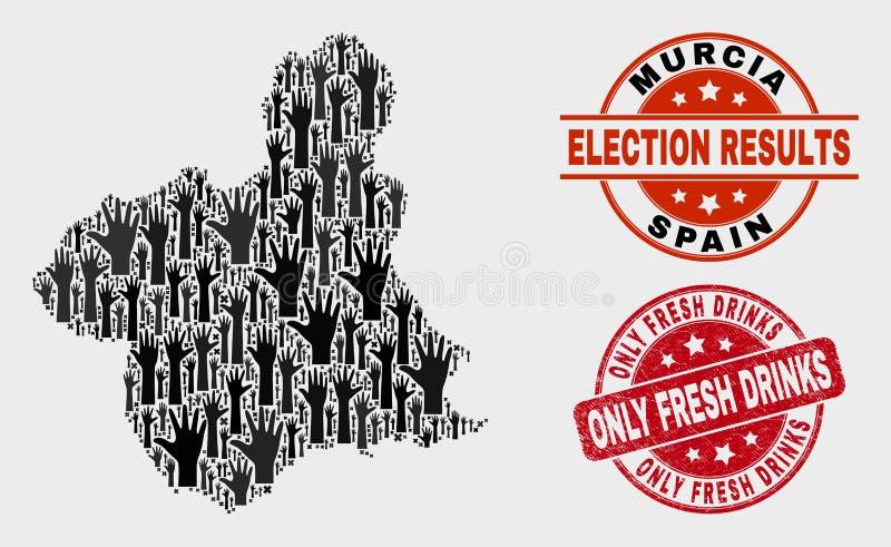 Skład Głosować Murcia Gubernialną mapę i Drapającego Tylko Świeżego napoju znaczek ilustracji
