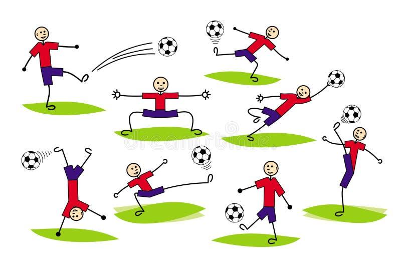 Skład kreskówka rysunki gracze Futbol i piłka nożna wektor ilustracja wektor