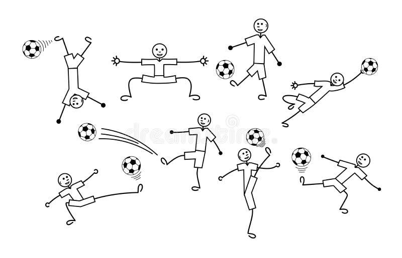 Skład kreskówka rysunki gracze Futbol i piłka nożna Wektor czarny i biały ilustracja wektor