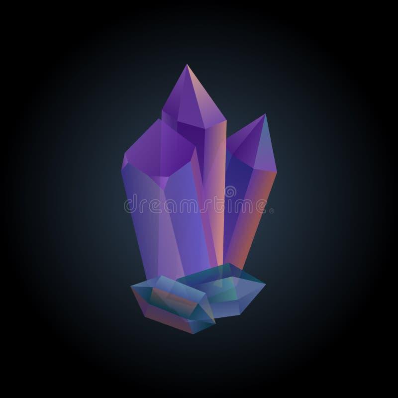 Skład purpur i zieleni kryształy na ciemnym tle wektor royalty ilustracja