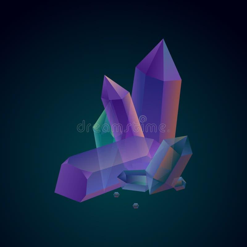 Skład purpur i zieleni kryształy na ciemnym tle wektor ilustracji