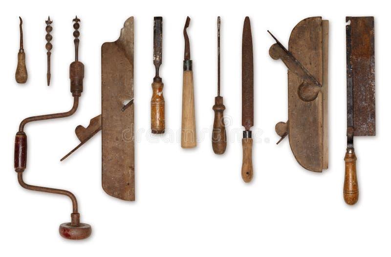 Skład starzy narzędzia dla drewna fotografia stock