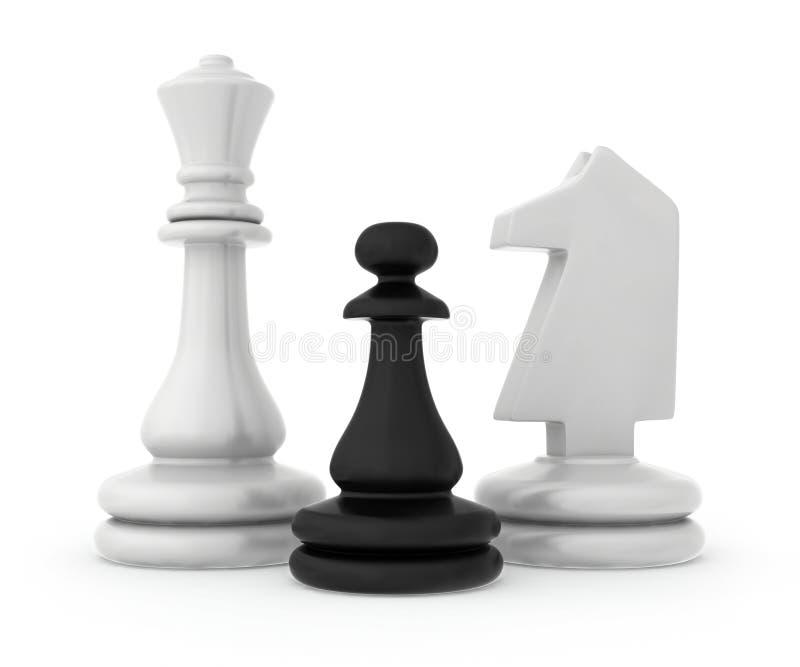Skład szachowi kawałki odizolowywający dalej royalty ilustracja