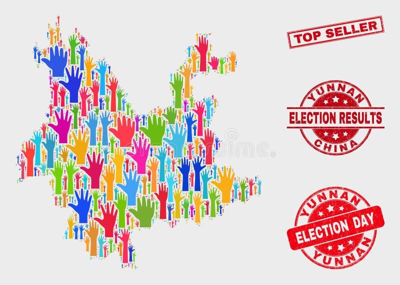 Skład tajnego głosowania Yunnan prowincji cierpienia i mapy Odgórny sprzedawca Watermark royalty ilustracja