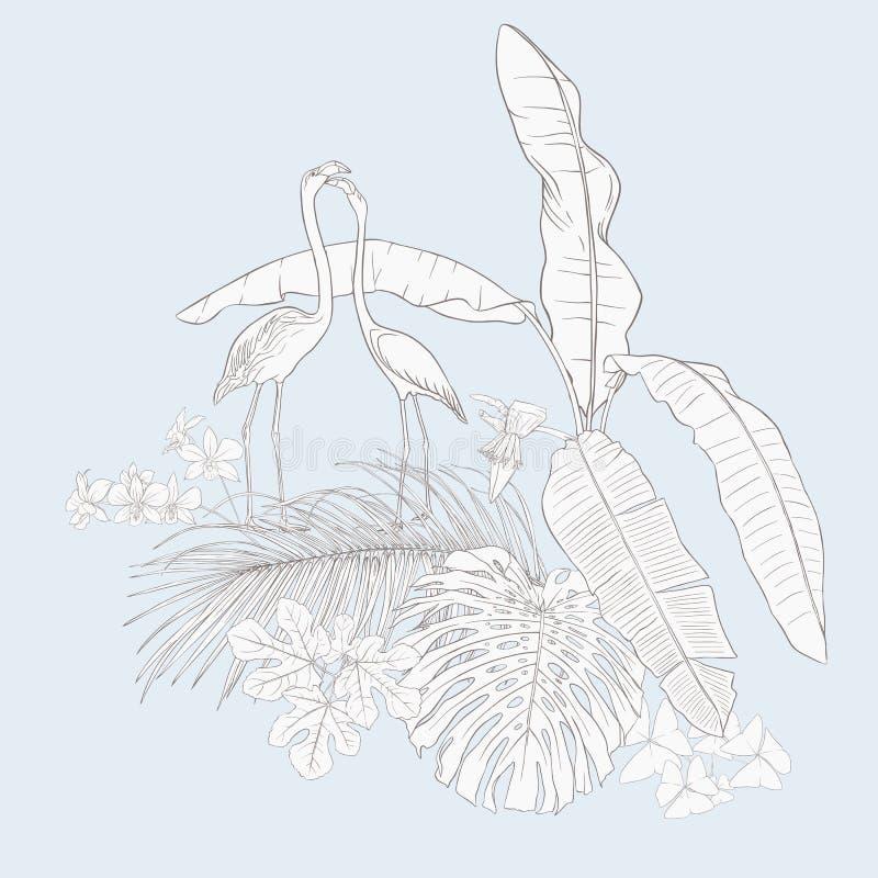 Skład tropikalne rośliny, palma opuszcza royalty ilustracja