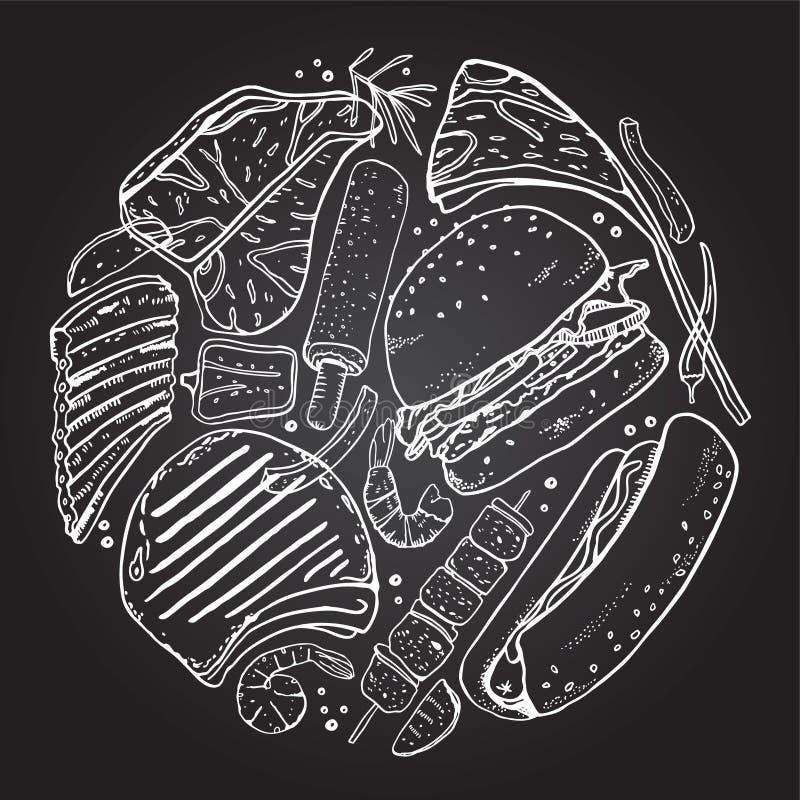Skład w okręgu z grillem i grilla jedzeniem Konturu nakreślenia wektorowa ręka rysująca ilustracja ilustracja wektor