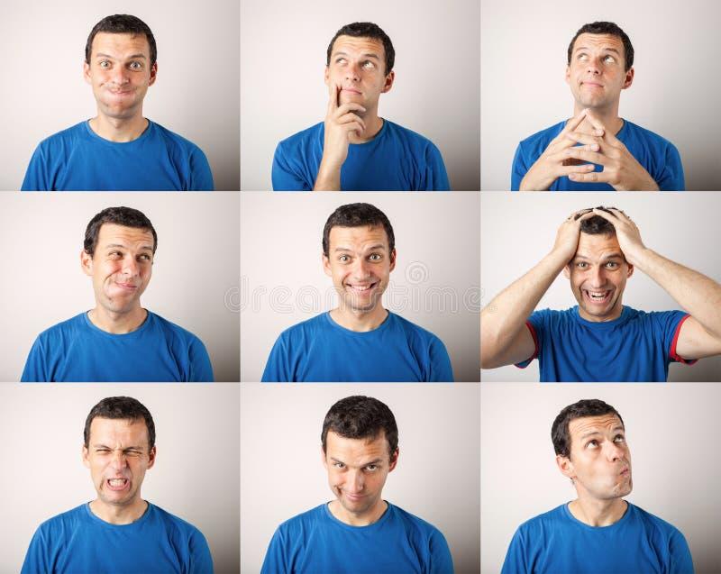 Skład wyraża różne emocje młody człowiek obrazy stock