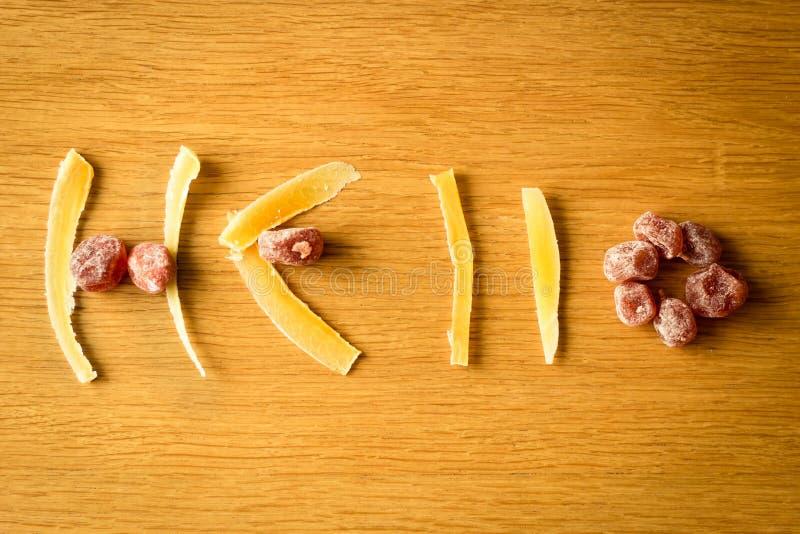 Skład wysuszone owoc na drewnianym tle obrazy stock