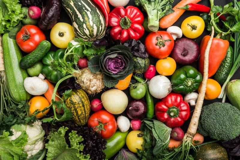 Skład z asortowanymi surowymi warzywami, zdrowy karmowy tło fotografia royalty free