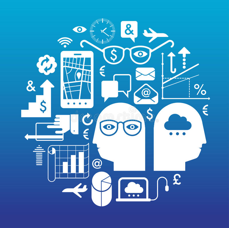 Skład z biznesowymi symbolami ilustracji
