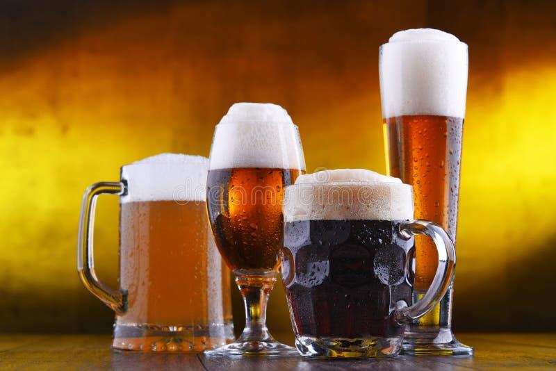 Skład z cztery szkłami piwo zdjęcie royalty free