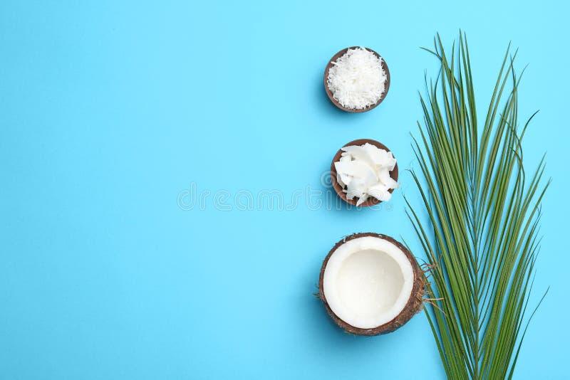 Skład z kokosowymi płatkami na koloru tle zdjęcie royalty free