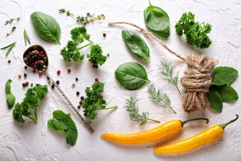 Skład z różnymi świeżymi ziele, chili pieprzami i pikantność na lekkim tle, zdjęcia royalty free