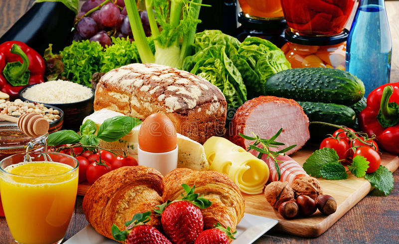 Skład z rozmaitością żywność organiczna produkty obraz royalty free