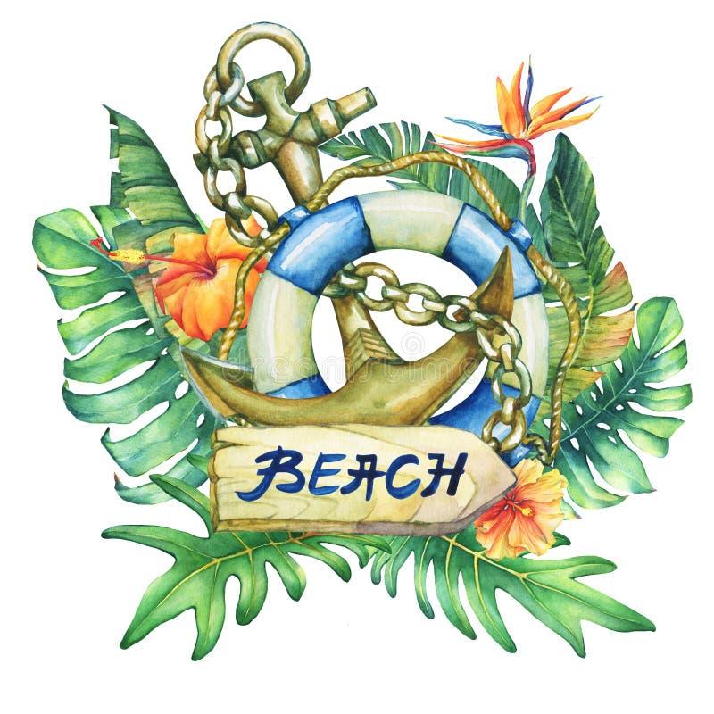 Skład z statkiem lifebuoy, kotwicą, kwiatami i tropikalnymi roślinami, royalty ilustracja