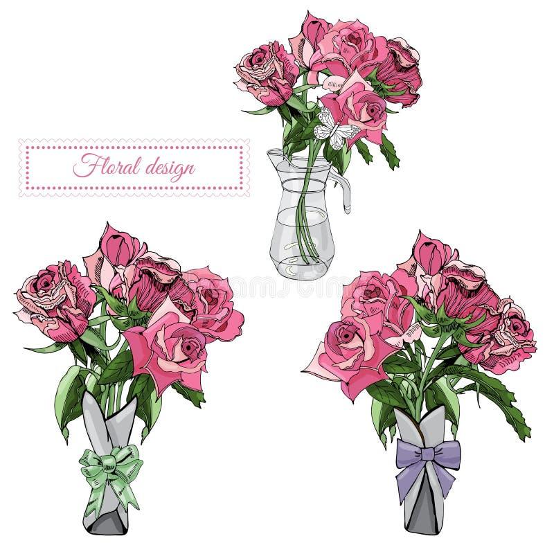 Skład z trzy bukietami kwitnąć menchii róży ramę i kwiaty Ręka rysujący atrament i barwiący nakreślenie na białym tle royalty ilustracja