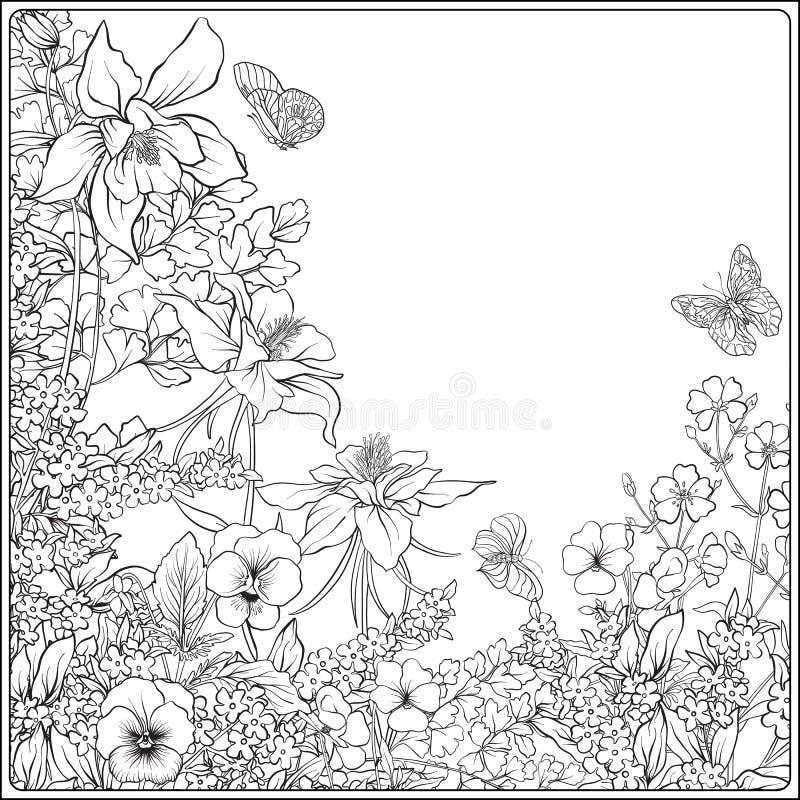 Skład z wiosna kwiatami: tulipany, daffodils, fiołki, dla ilustracja wektor