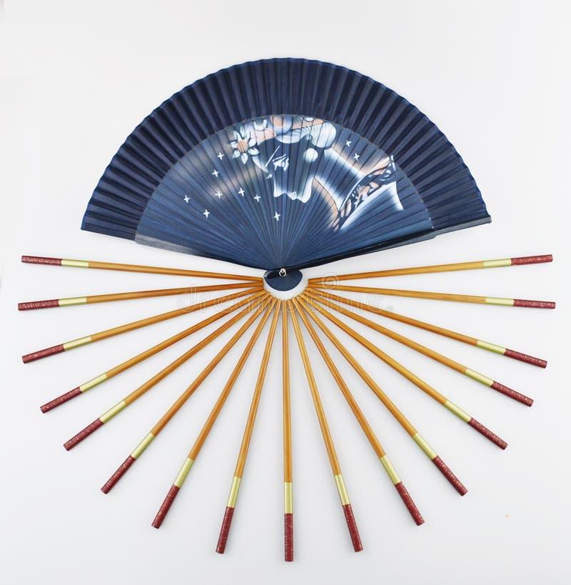 Składać fan i chopsticks obrazy stock