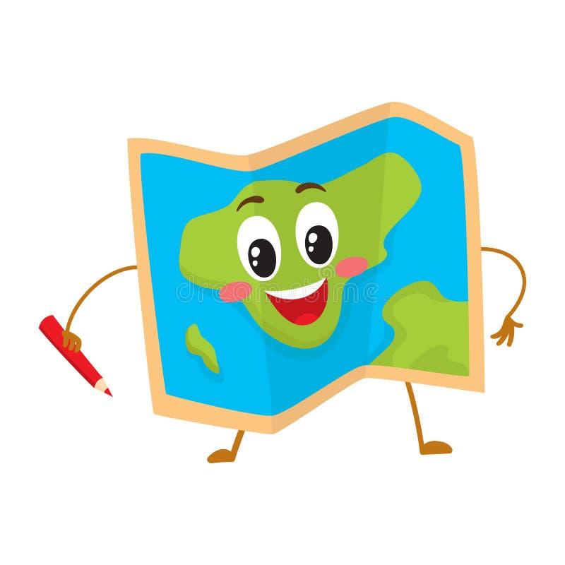 Składać geographical mapy śmiesznego charakteru z czerwonym ołówkiem ilustracja wektor