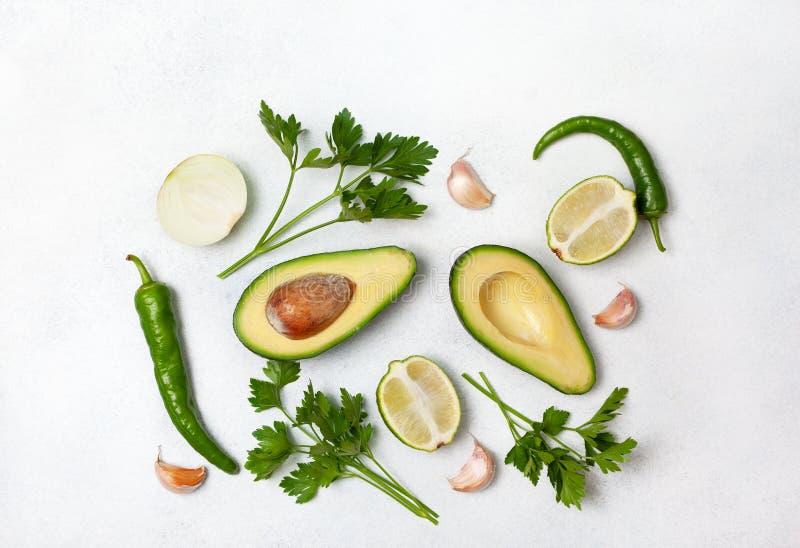 Składniki dla guacamole obrazy stock