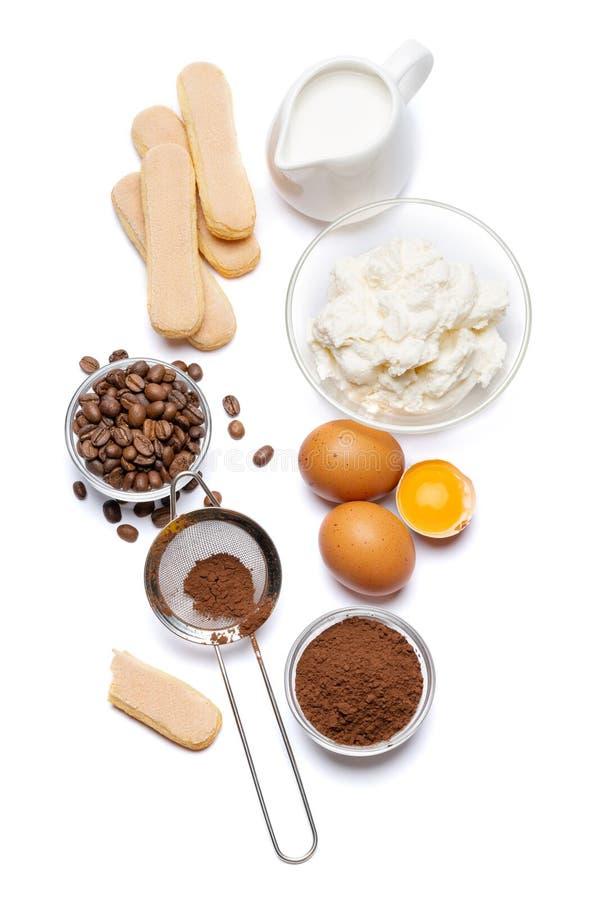 Składniki dla kulinarnego tiramisu Savoiardi biskwitowi ciastka, mascarpone, śmietanka, cukier, kakao, kawa i jajko -, zdjęcia stock