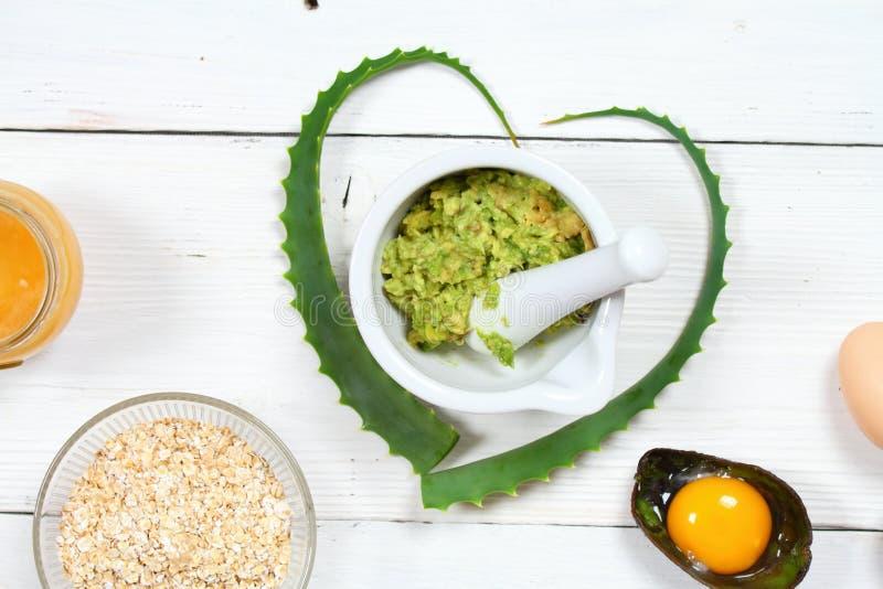 Składniki dla twarzy maski; avocado, aloes Vera, jajko, oatmeal, miód zdjęcia stock