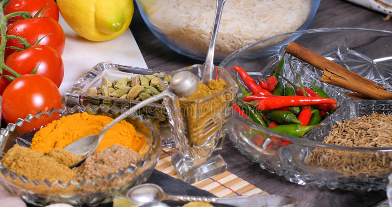 Składniki i hindus pikantność dla kurczaka tikka masala obrazy stock