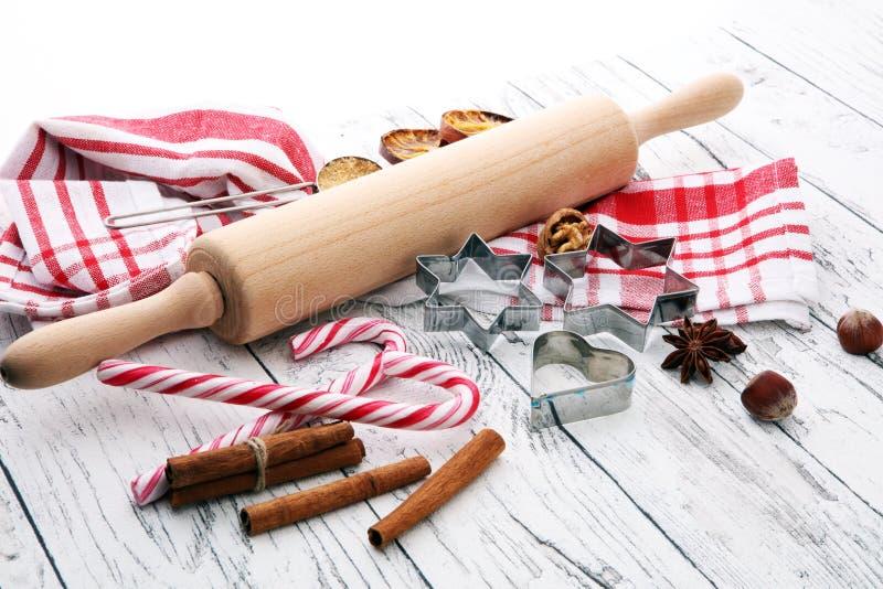 Składniki pikantność, dokrętki, ciastka i sha dla Bożenarodzeniowego pieczenia -, zdjęcia royalty free