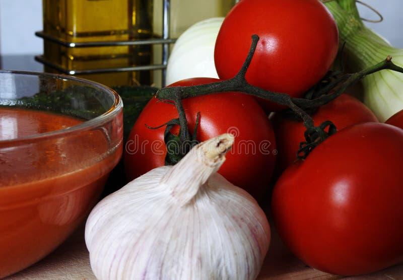 Składniki robić Andaluzyjskiemu gazpacho zdjęcia royalty free