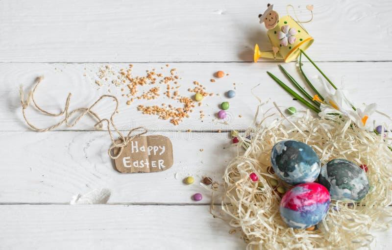 Składniki Wielkanocni i czekoladowi jajka obrazy stock