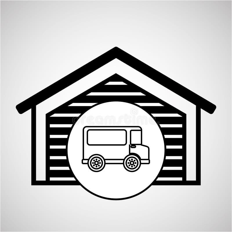 Składowego budynku transportu doręczeniowa ciężarówka royalty ilustracja