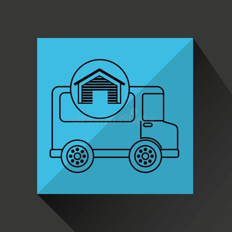 Składowego budynku transportu doręczeniowa ciężarówka ilustracji