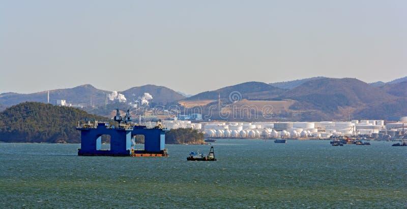 Składowych zbiorników gospodarstwo rolne w porcie Gwangyang obrazy royalty free