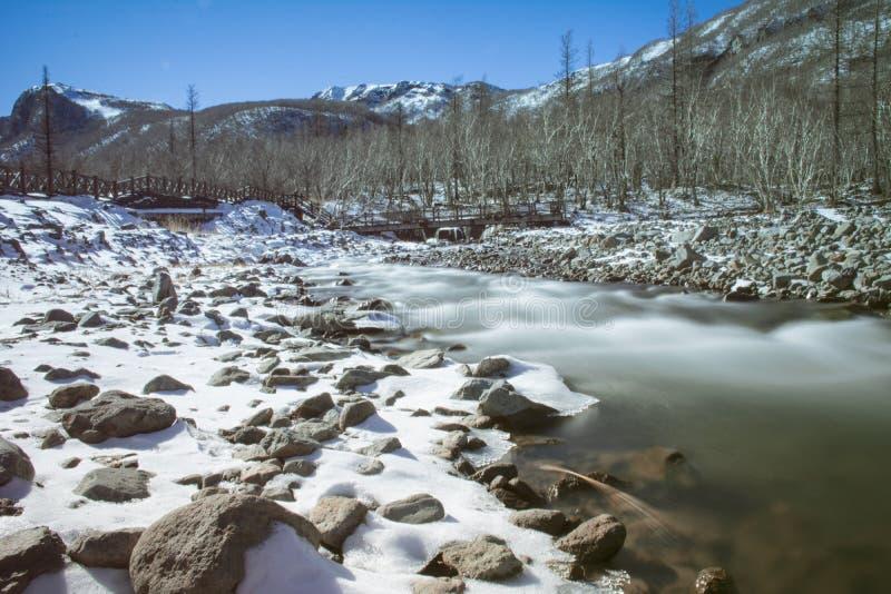 składu natury rzeki śnieg delikatnie zdjęcie stock