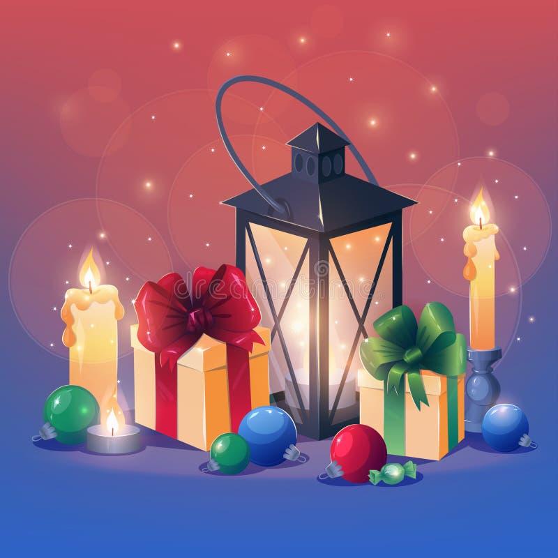 składu nowy rok Bożenarodzeniowy powitania cardÑŽ Wciąż życie z świeczka lampowymi prezentami i boże narodzenie zabawkami royalty ilustracja