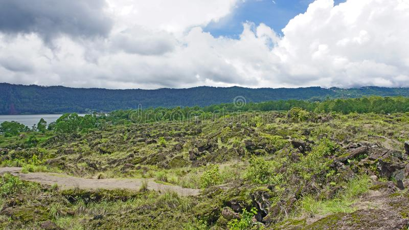 Skłony góry Bature teren, Kintamani, Bali, Indonezja obrazy royalty free