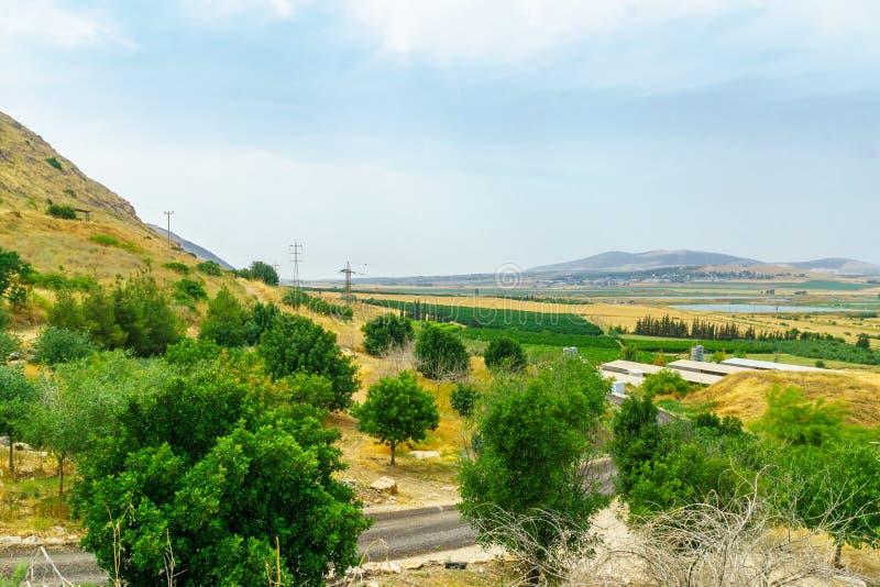 Skłony Gilboa góra i Beit Shean dolina, zdjęcia stock