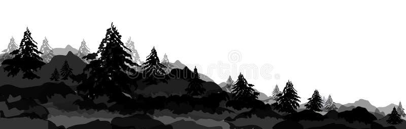 Sk?ad, krajobraz drzewa, lasy i nakrywa? g?ry, wektorowy sztandar, sieć chodnikowa zimy sosna, choinka, ilustracji