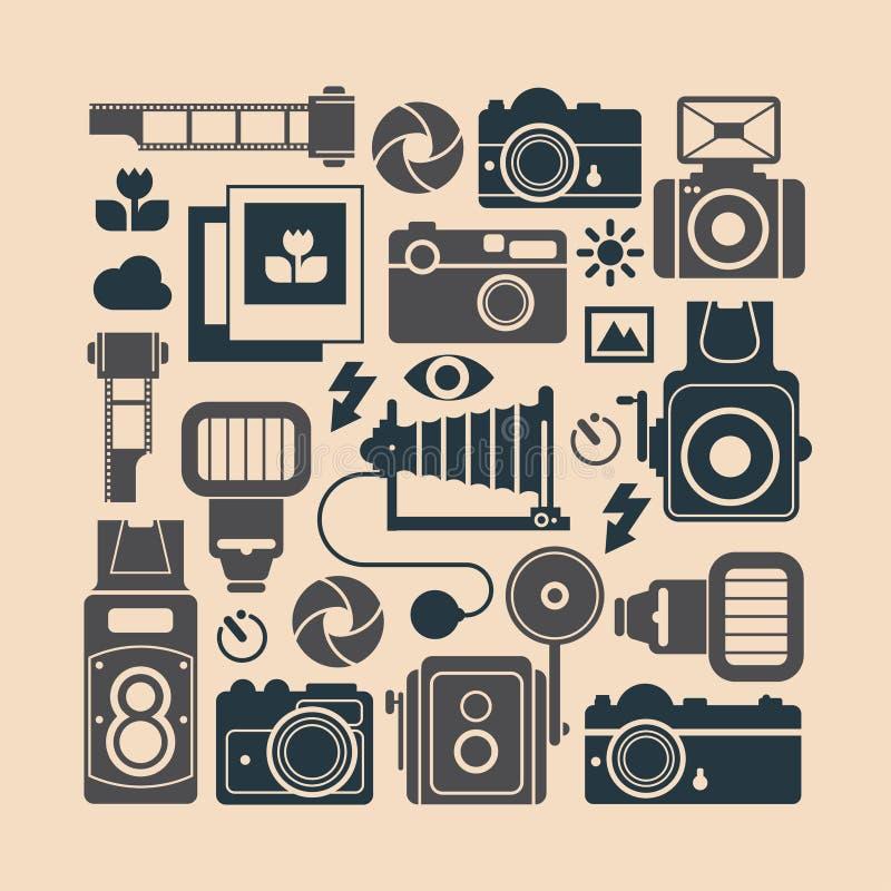 Download Skład Z Fotografia Symbolami Ilustracja Wektor - Ilustracja złożonej z obiektyw, wyznaczający: 57656278