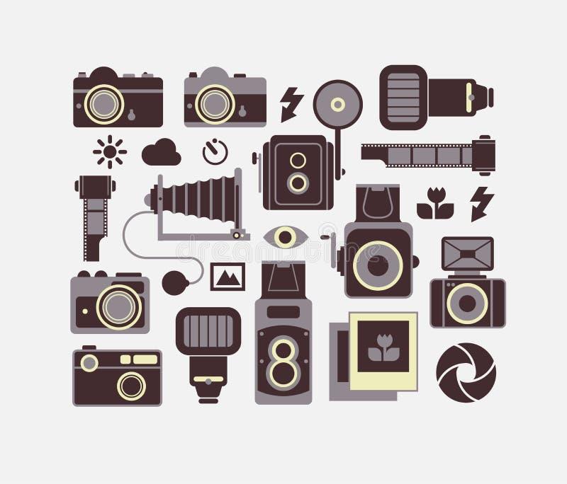 Download Skład Z Fotografia Symbolami Ilustracja Wektor - Ilustracja złożonej z fotografia, obiektywnie: 57656439