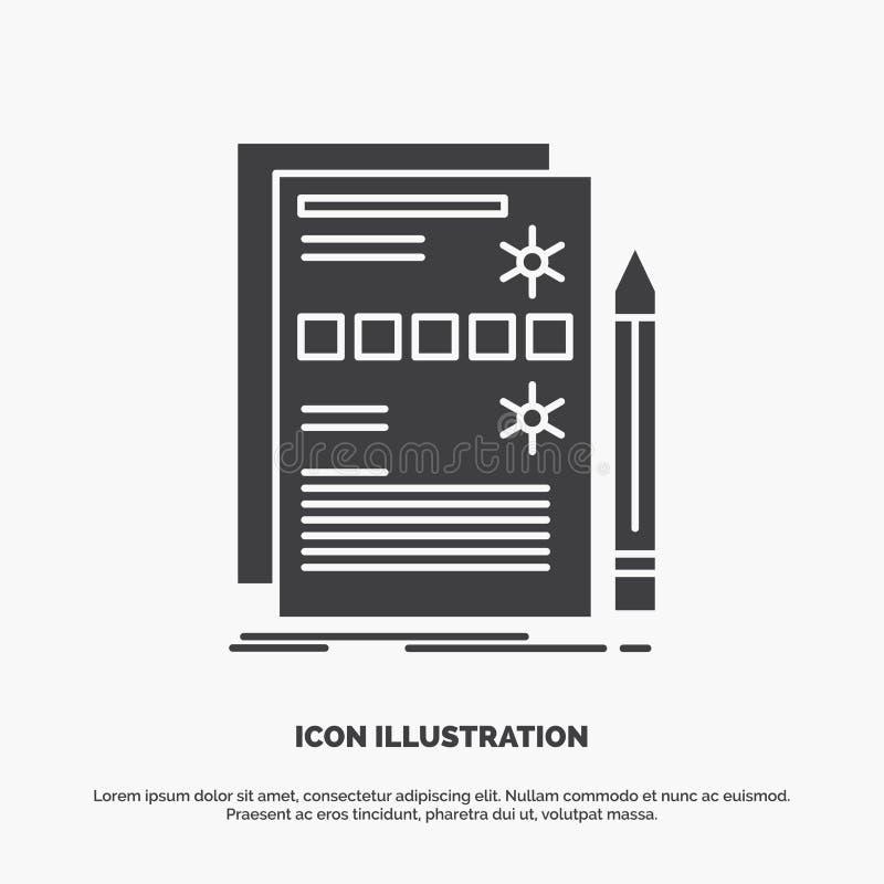 Sk?adnik, dane, projekt, narz?dzia, system ikona glifu wektorowy szary symbol dla UI, UX, strona internetowa i wisz?cej ozdoby za royalty ilustracja