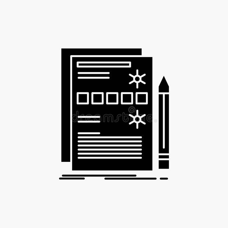 Sk?adnik, dane, projekt, narz?dzia, systemu glifu ikona Wektor odosobniona ilustracja royalty ilustracja