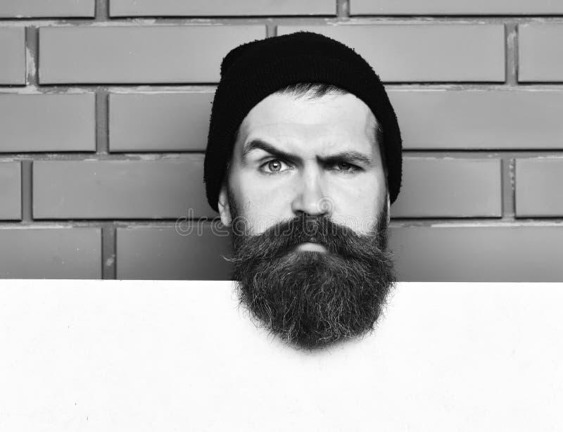 Sk?ggig brutal caucasian hipster med vitbokarket arkivfoton