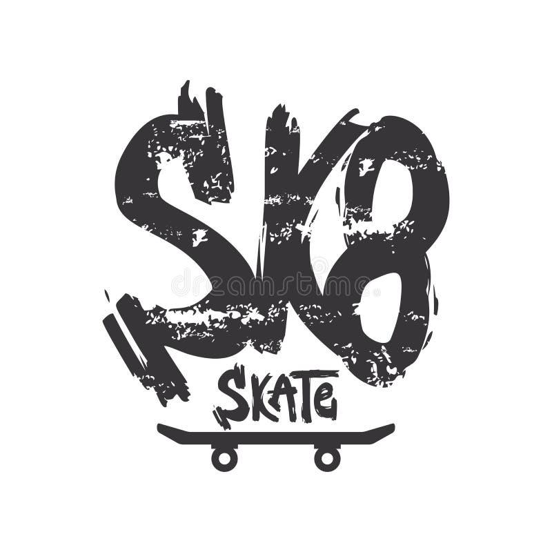 Sk8 grunge old school vector lettering. Dry paint brush stroke skateboarder slogan. Black ink smears texture phrase stock illustration