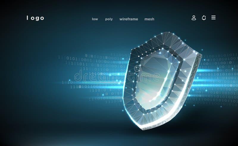 sk?ld Polygonal wireframeingrepp Cybers?kerhetsbegrepp, skydd Sk?ld p? bakgrund f?r digitala data vektor illustrationer