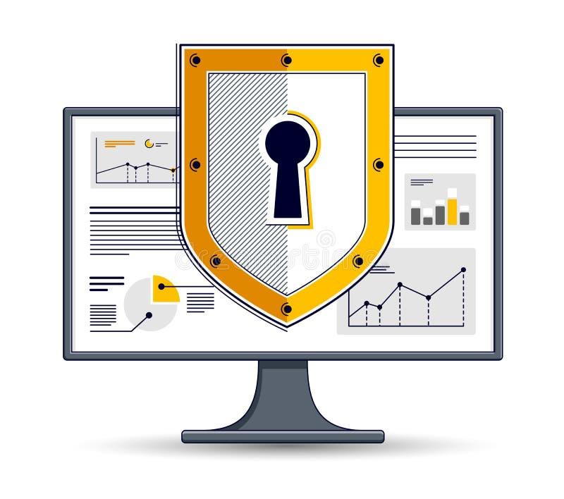 Sk?ld ?ver datorbildsk?rmen, begreppet f?r s?kerhet f?r privata data, antivirus eller firewallen, finansskydd, plan tunn linje f? royaltyfri illustrationer