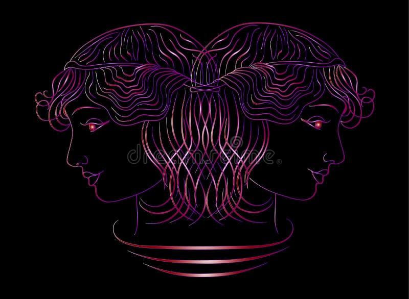 Sk?nhetsalong, guld- neon profilen av en flicka p? en svart bakgrund illustrationer royaltyfri illustrationer