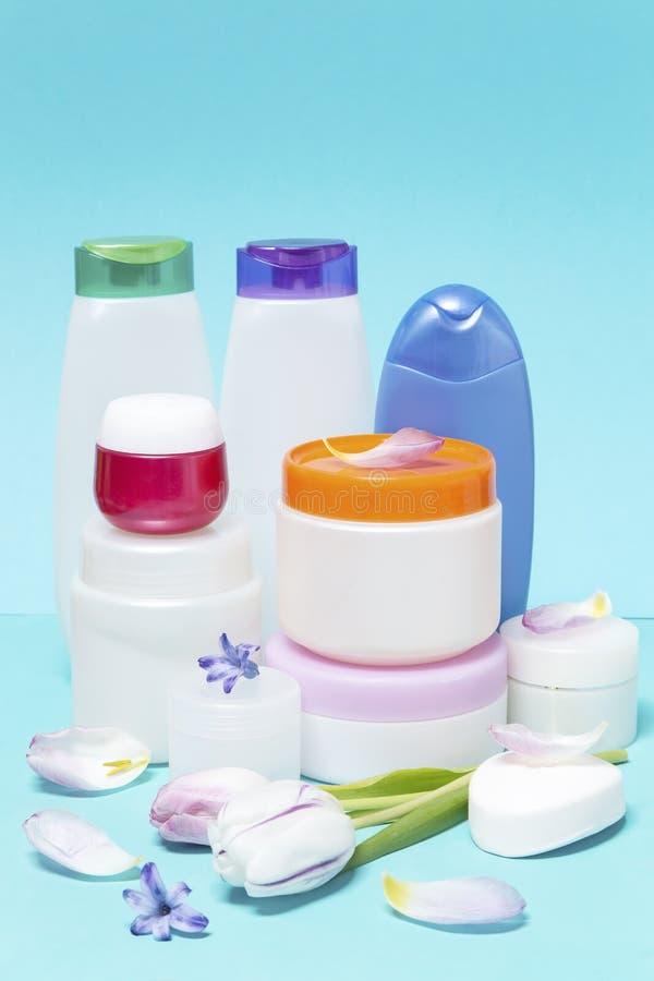 Sk?nhetsmedel och hygienprodukter royaltyfria bilder